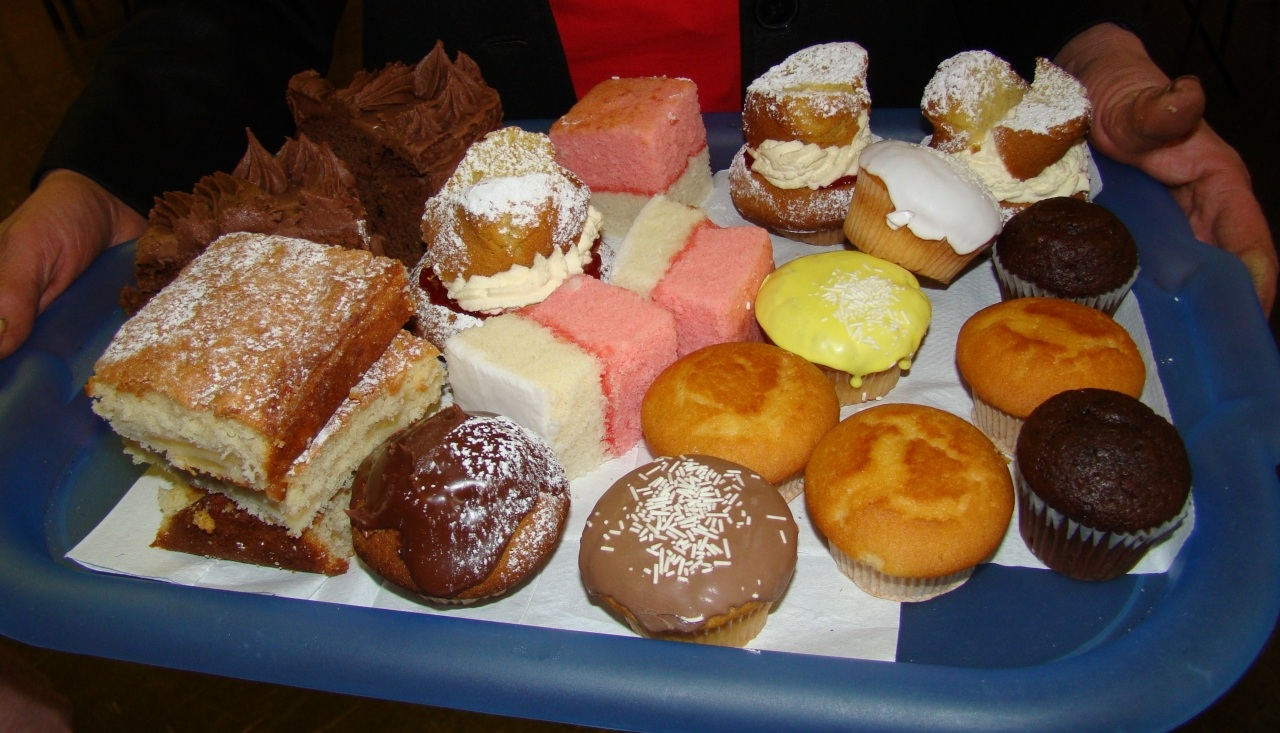 Selection of Cakes and Buns at our cake-sale.